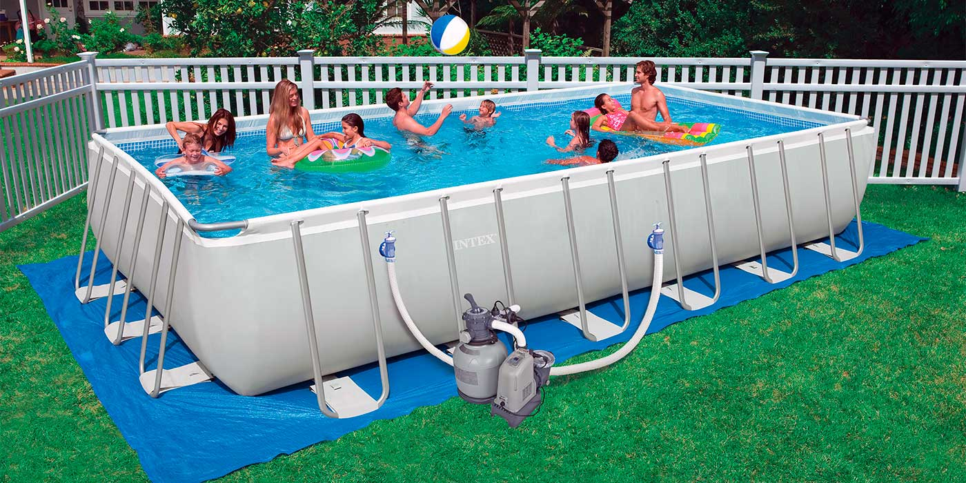 Piscina intex rectangular ultra frame 732x366x132 for Piscina estructural intex